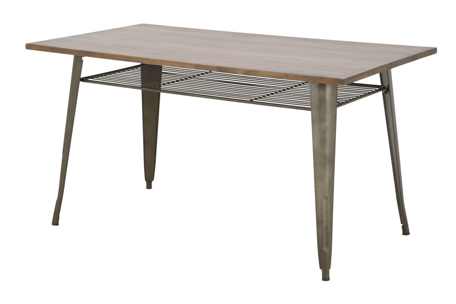 Masa din lemn de pin si metal Harlem Walnut, l140xA80xH75 cm