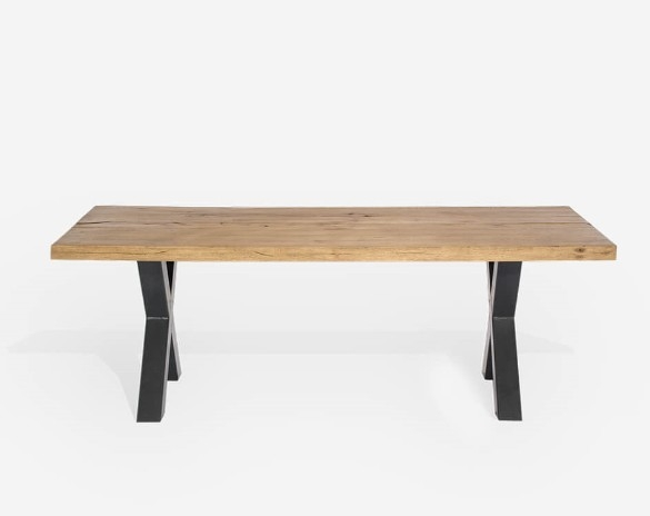 Masa din lemn de stejar salbatic, cu picioare metalice Atena-Stejar Bassano-L180 x l100 x h76 cm imagine