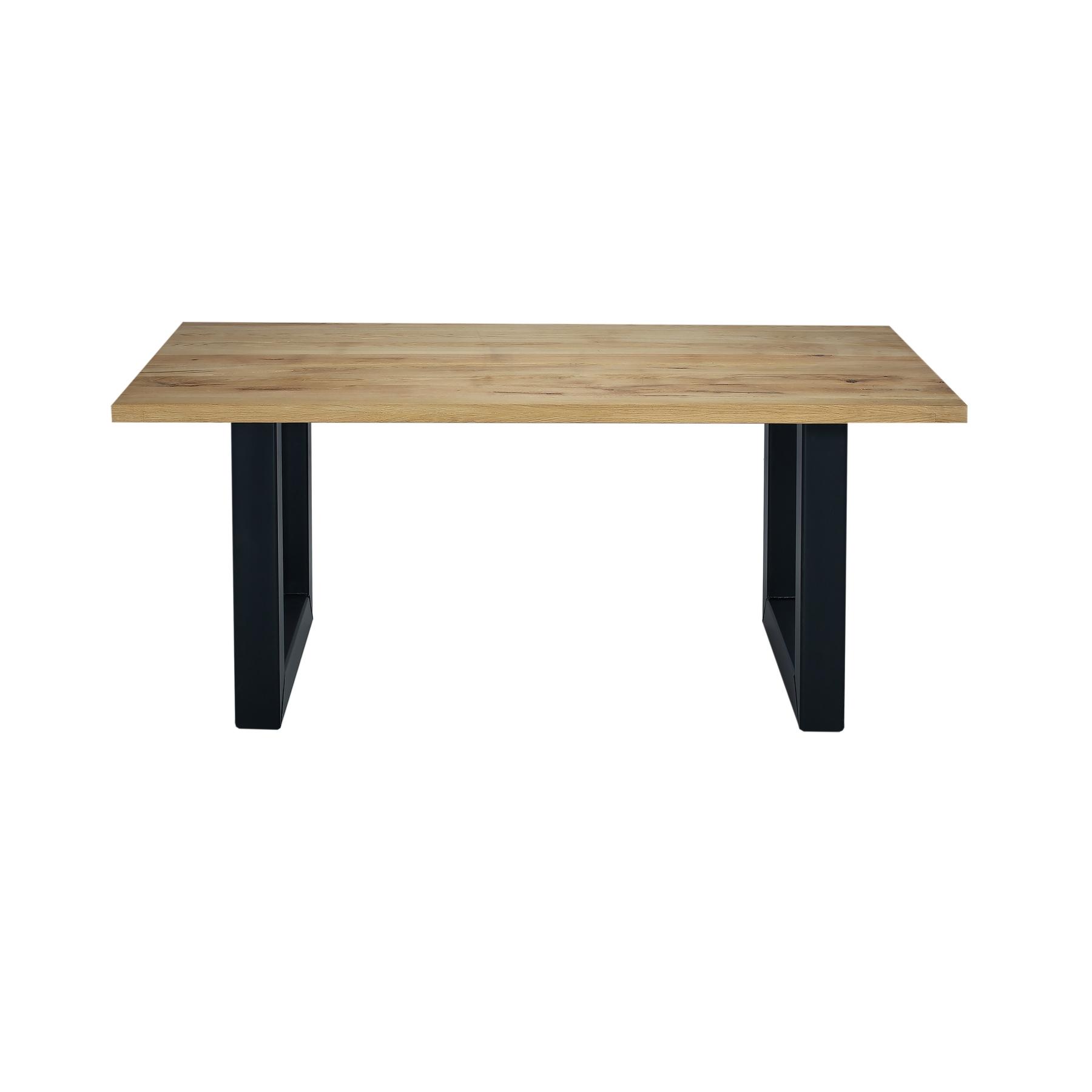 Masa din lemn de stejar salbatic, cu picioare metalice California, L180xl100xH76 cm imagine