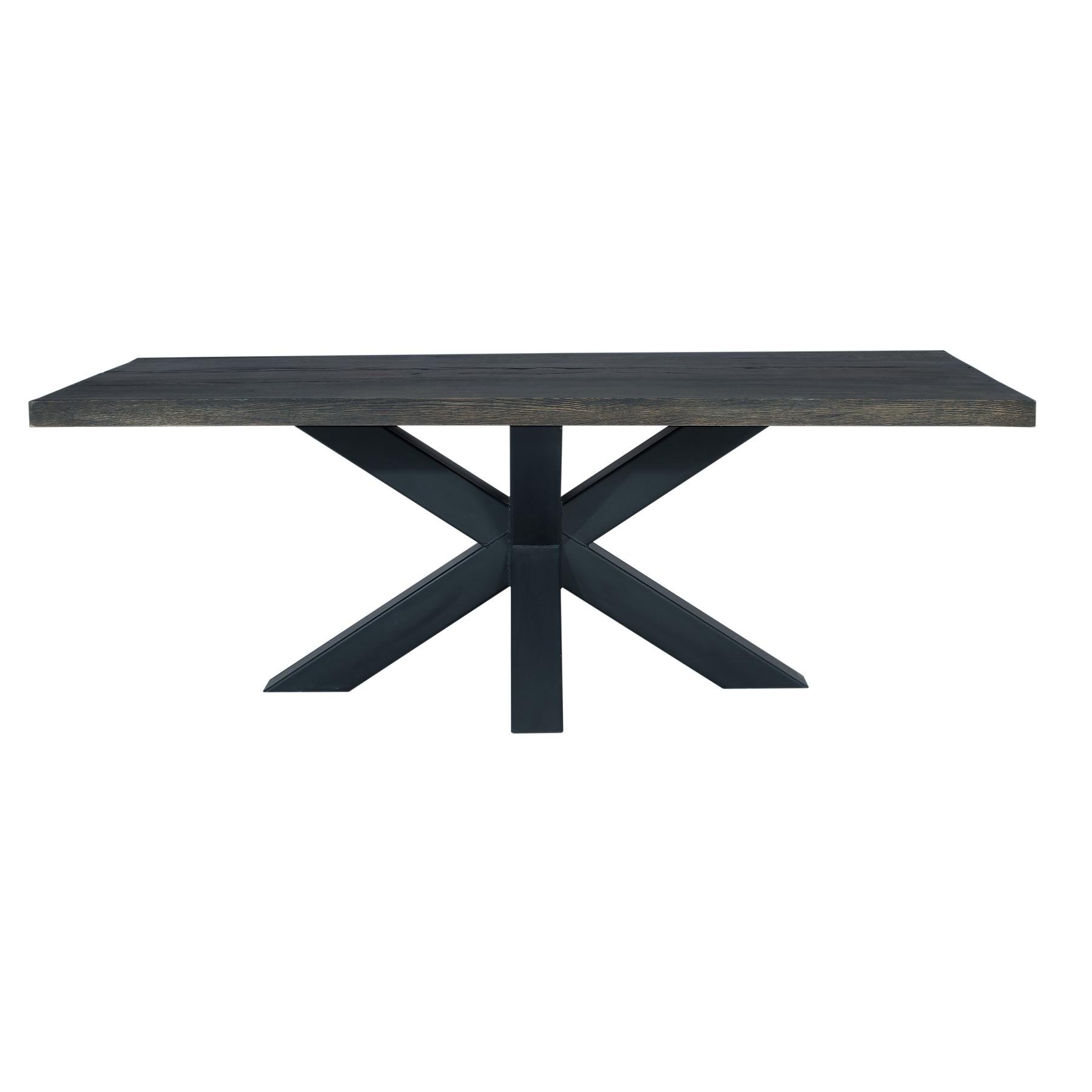 Masa din lemn de stejar salbatic cu picioare metalice Chicago I L240xl100xH76 cm