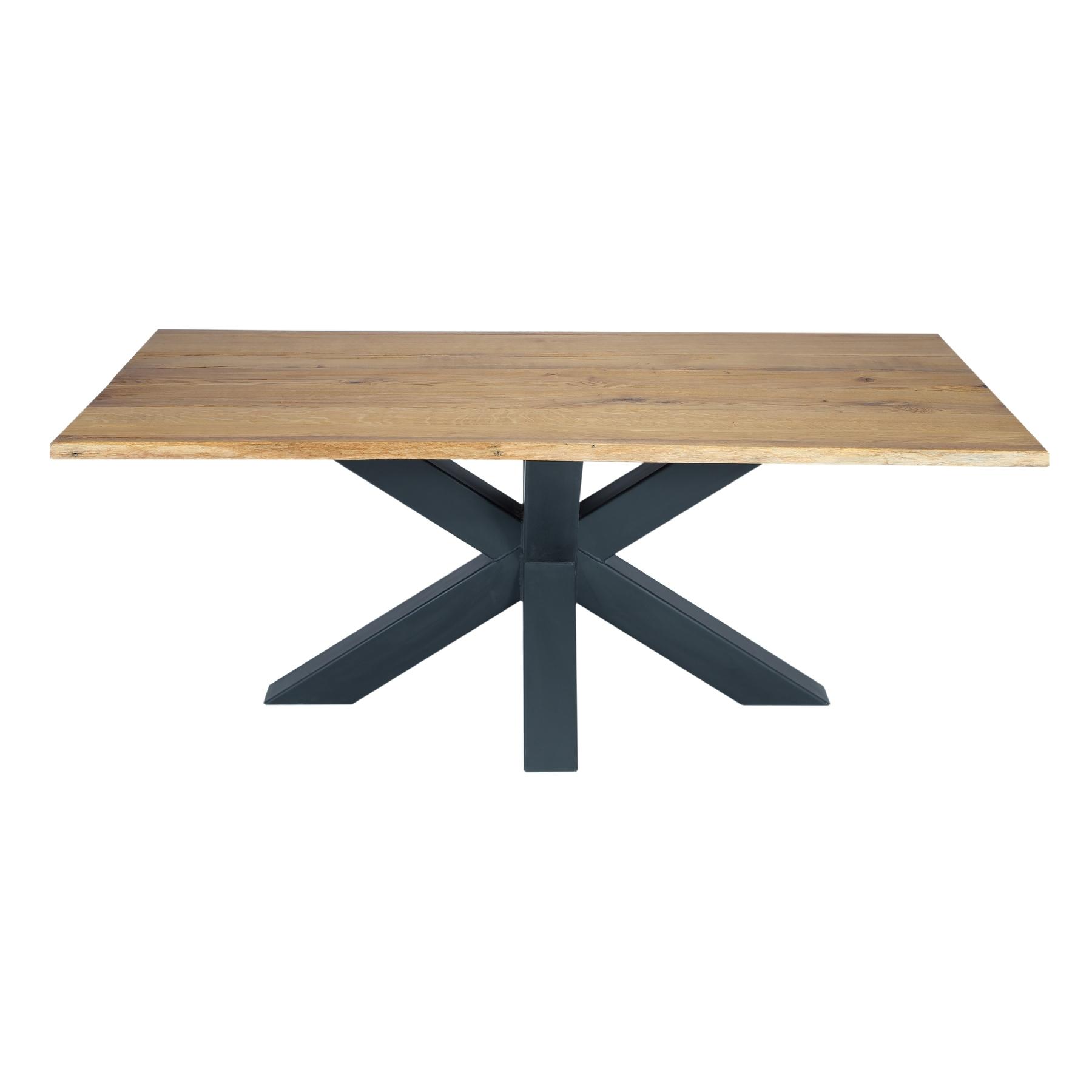 Masa din lemn de stejar salbatic, cu picioare metalice Chicago II imagine