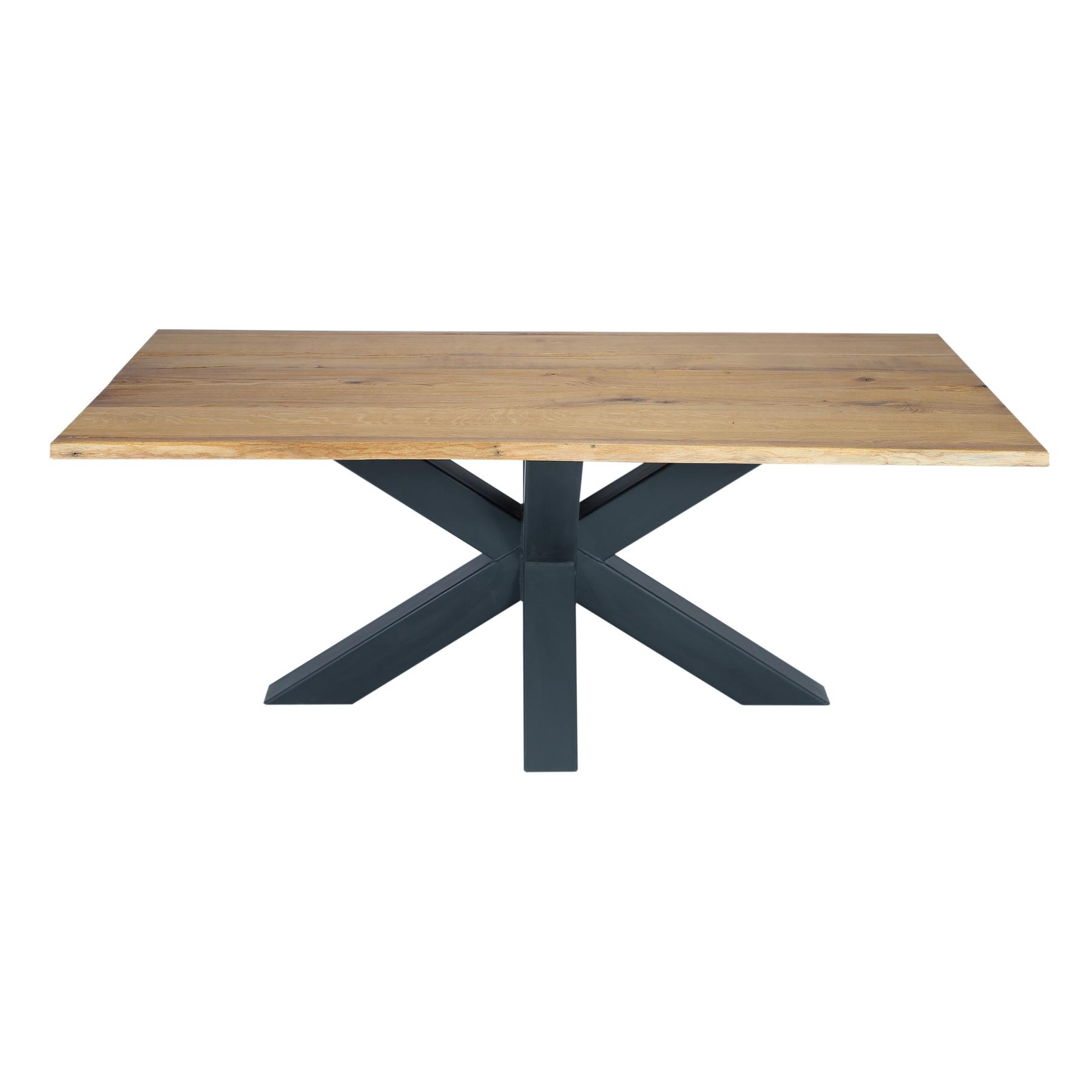 Masa din lemn de stejar salbatic cu picioare metalice Chicago II L220xl100xH76 cm