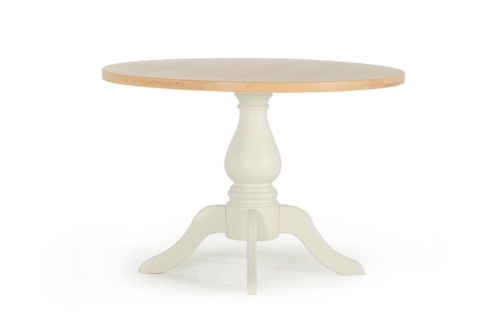 Masa din lemn de stejar si furnir Chalk White / Oak O110xH75 cm