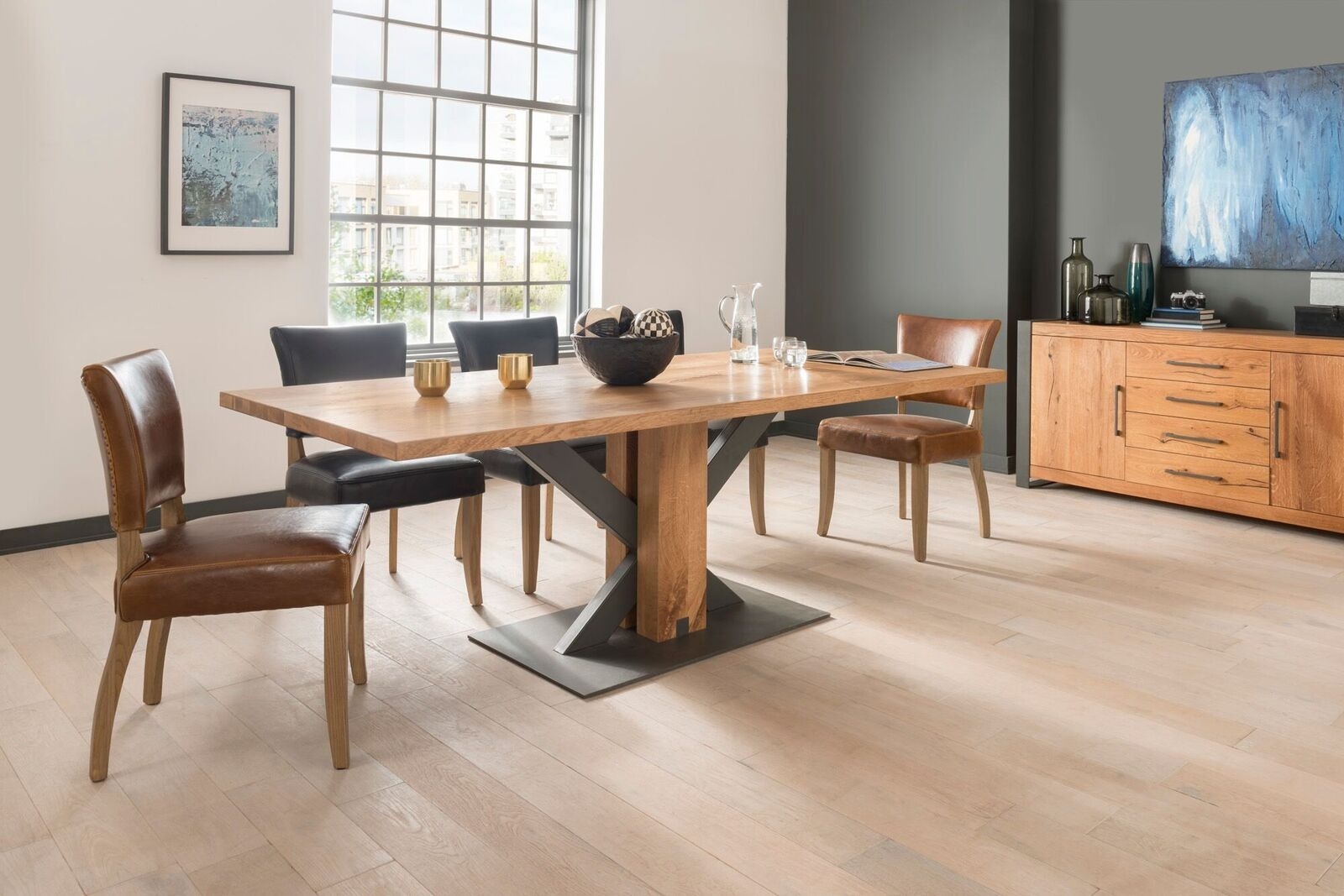 Masa din lemn de stejar si metal Lindau Oak L220xl100xH75 cm