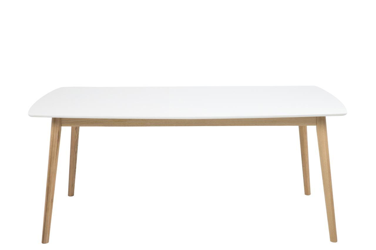 Masa din lemn si MDF Nagano Alb / Stejar, L180xl90xH75,5 cm poza