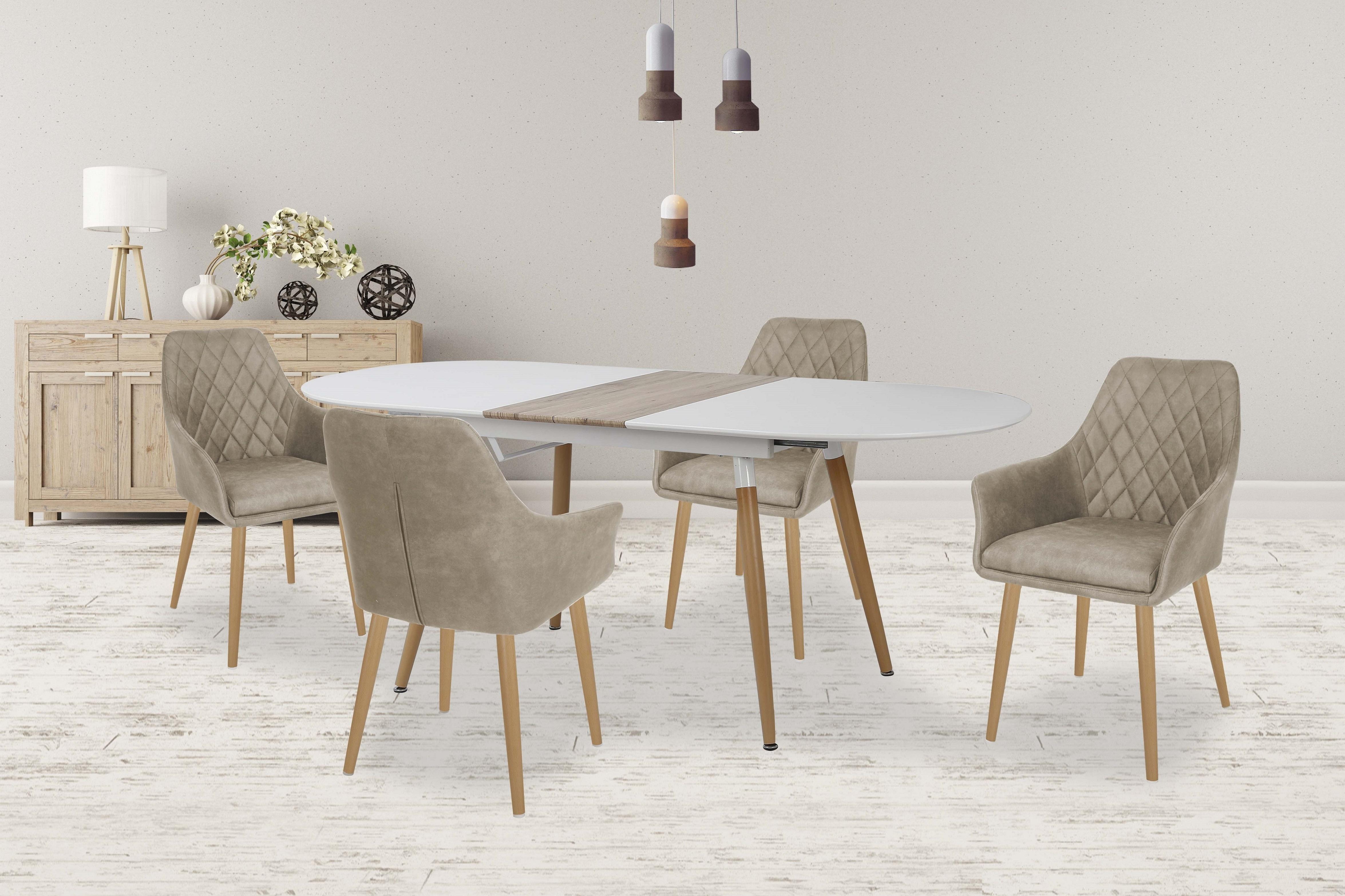 Set masa din MDF Caliber + 4 scaune K287 Beige