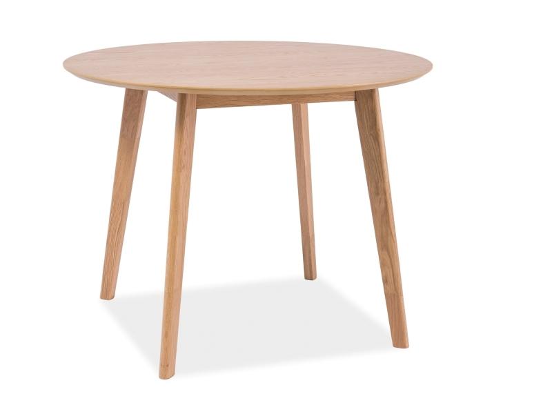 Masa din MDF, furnir si lemn Mosso II Stejar, Ø100xH75 cm imagine