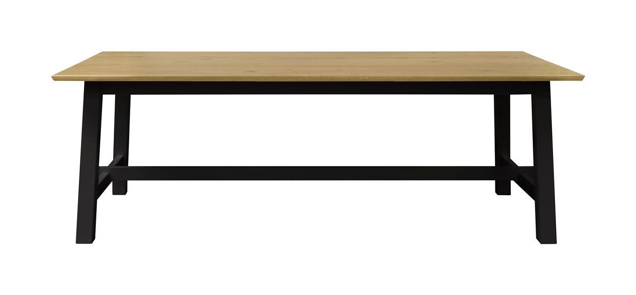 Masa din MDF si furnir Elli Stejar / Negru, L220xl95xH75 cm imagine