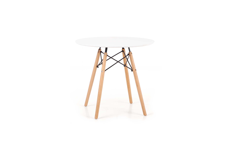 Masa din MDF si lemn de fag Prometheus Round White / Beech, Ø80xH75 cm