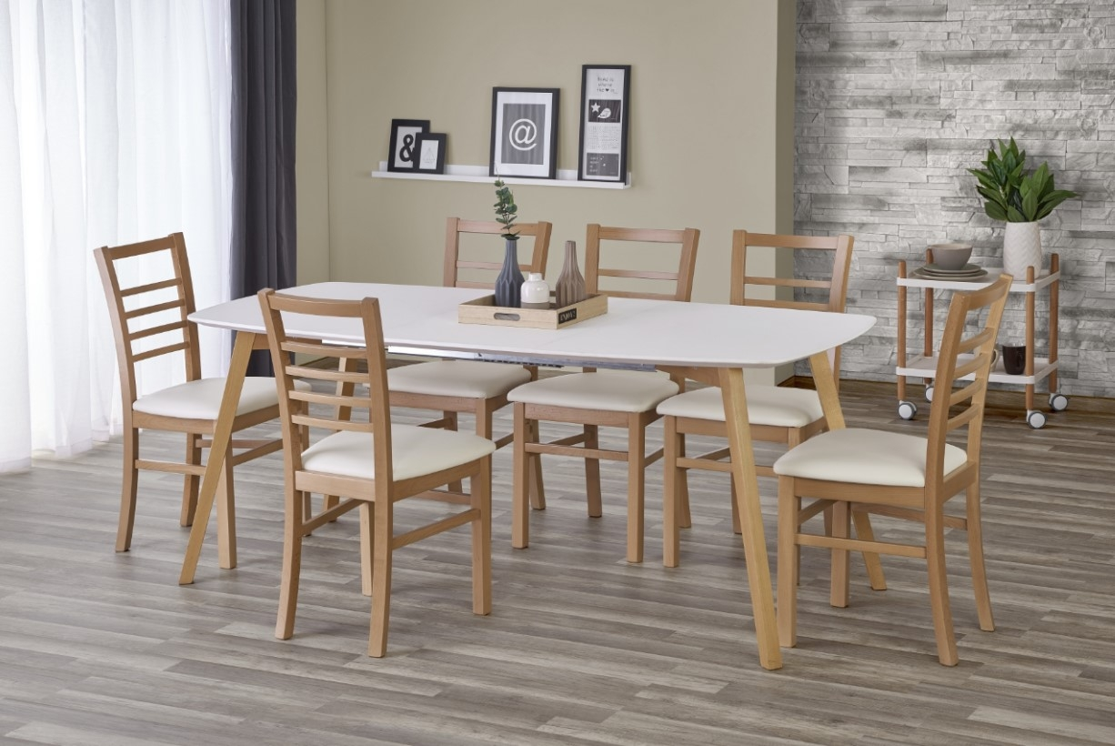 Set masa extensibila din MDF si lemn Kajetan Honey Oak + 6 scaune Adrian Honey Oak / White, L135-185xl82xH76 cm imagine