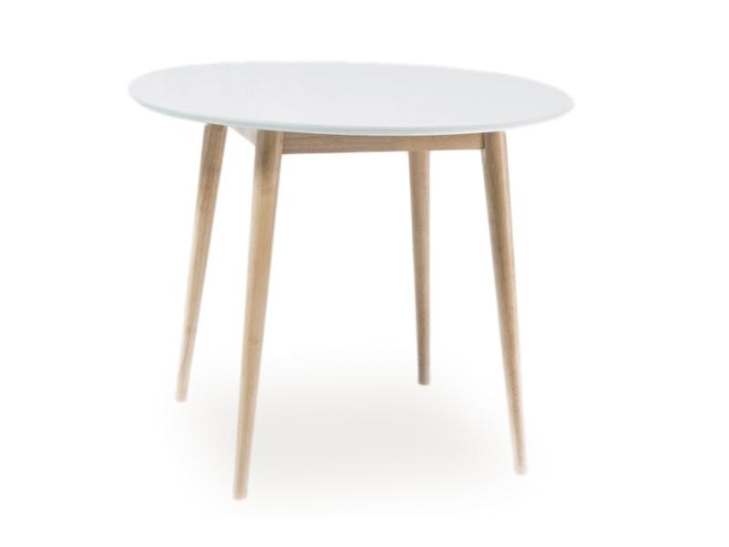 Masa din MDF si lemn Leif Alb / Stejar White Wash, Ø100xH75 cm imagine