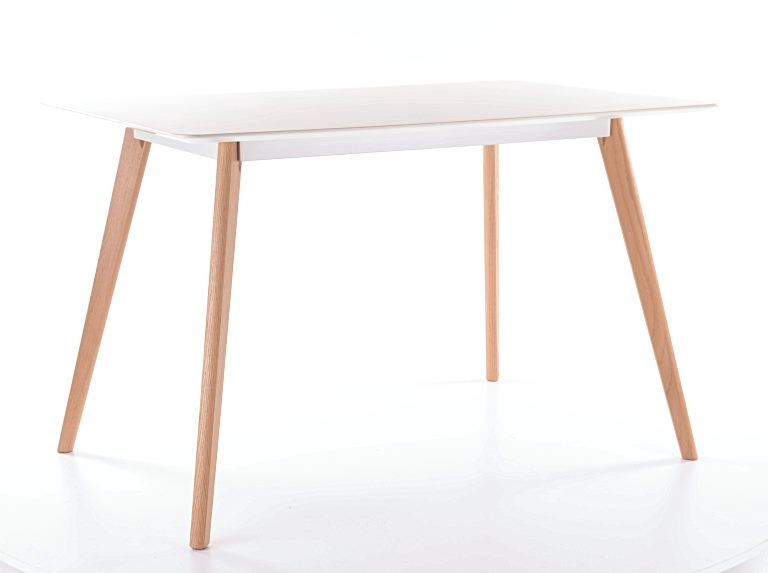 Masa din MDF si lemn Milan 160 Alb / Stejar, L160xl90xH75 cm imagine