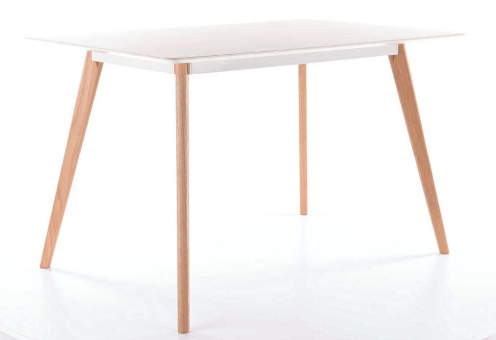 Masa din MDF si lemn Milan Alb / Stejar, L120xl80xH75 cm imagine