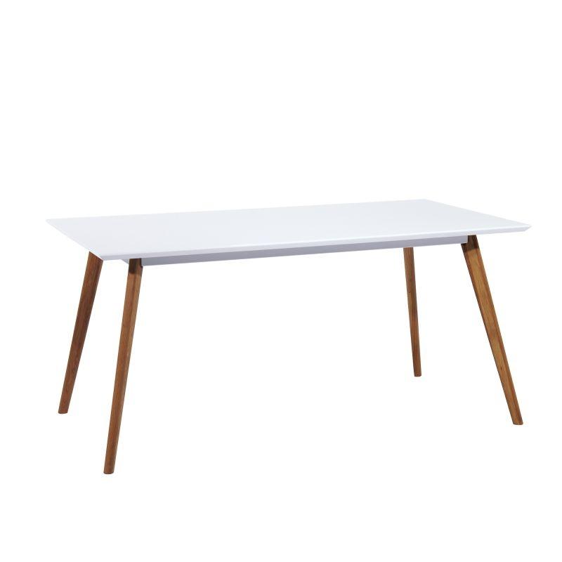 Masa din MDF si lemn Milan Alb / Stejar, L140xl80xH75 cm imagine