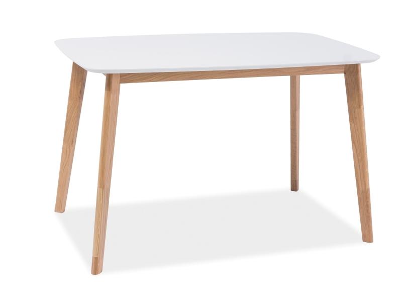 Masa din MDF si lemn Mosso I Alb / Stejar, L120xl75xH75 cm imagine