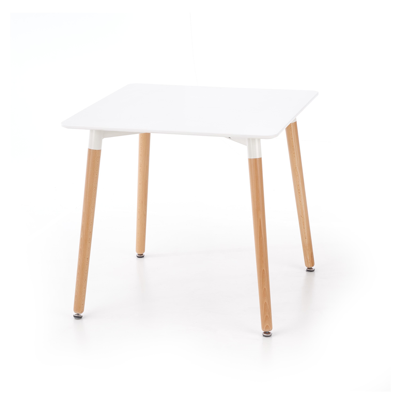 Masa din MDF si lemn Socrates Kwadrat White / Beech, L80xl80xH74 cm imagine