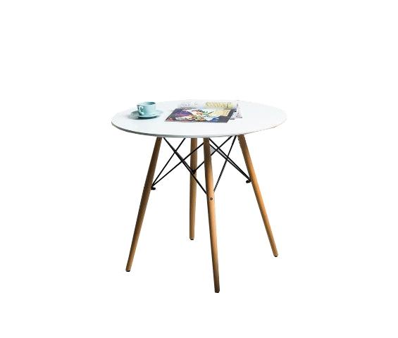 Masa din MDF si lemn Soho 90 Alb / Fag, Ø90xH75 cm