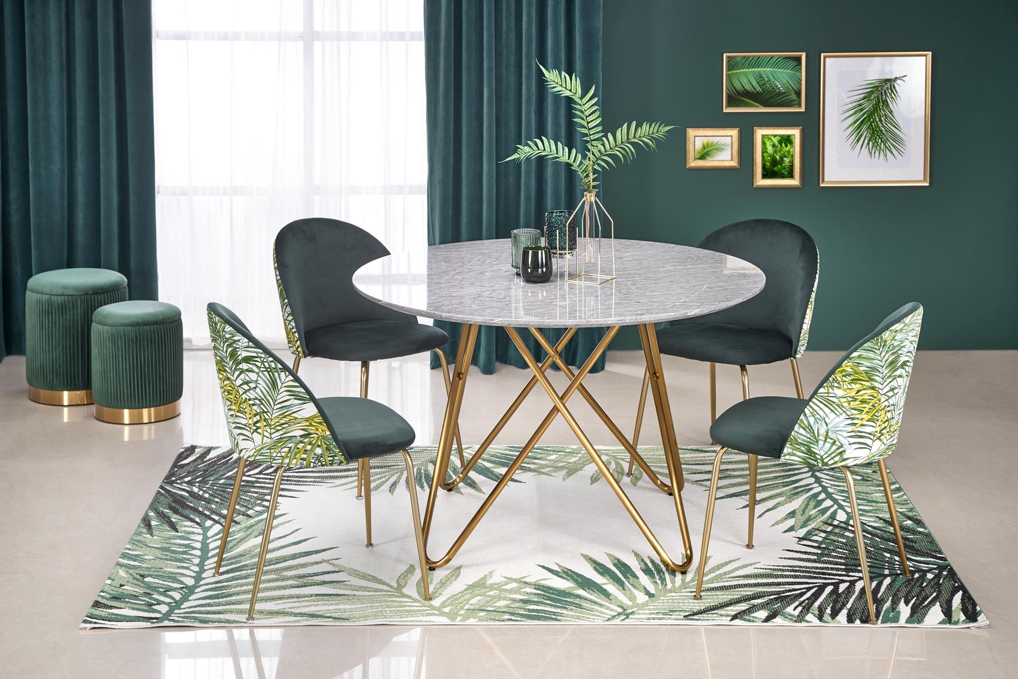 Set masa din MDF si metal Bonello Gri / Auriu + 4 scaune tapitate cu stofa K372 Verde inchis / Auriu, Ø120xH76 cm poza