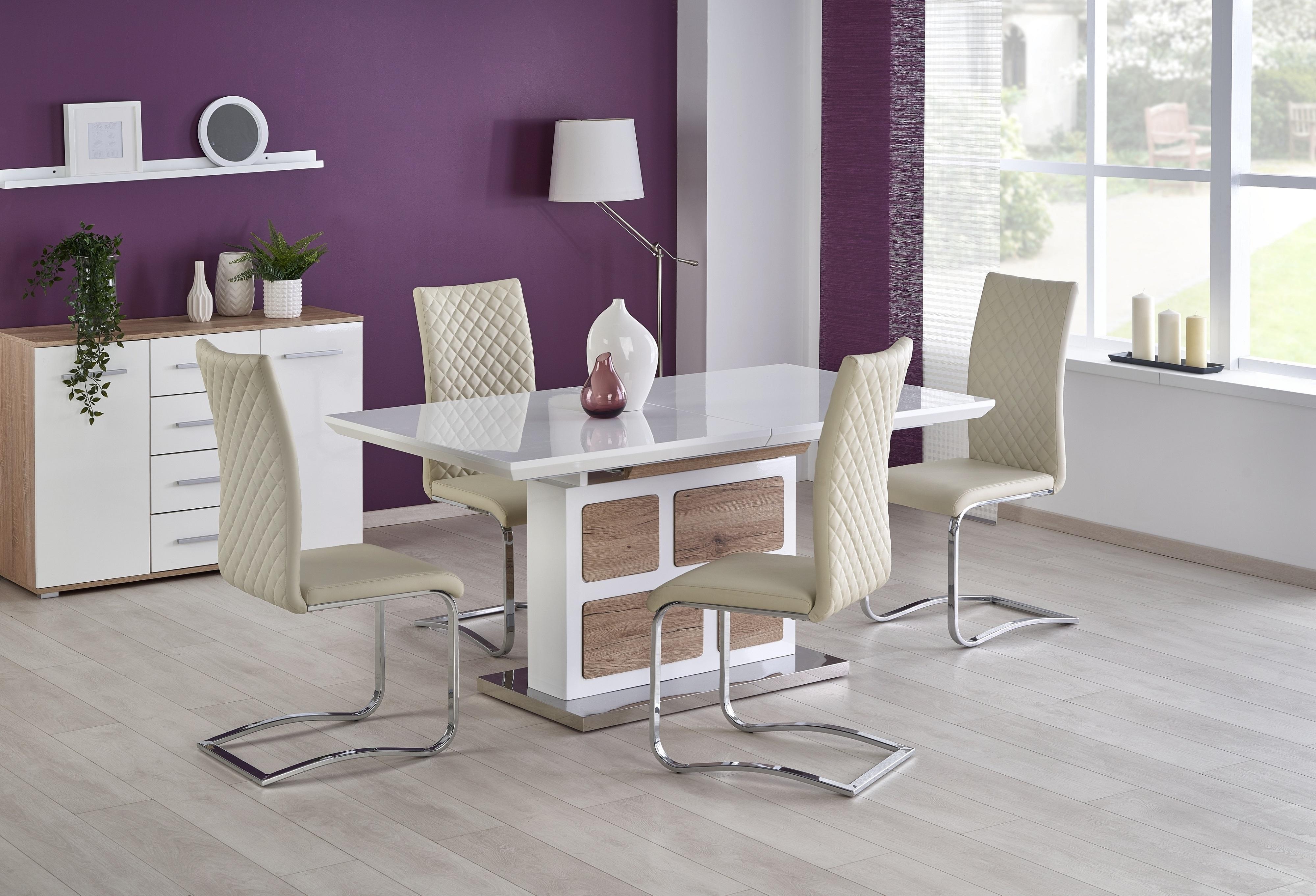Set masa extensibila din MDF si metal Domus White / Oak San Remo + 4 scaune K293 Cream, L160-220xl90xH76 cm poza
