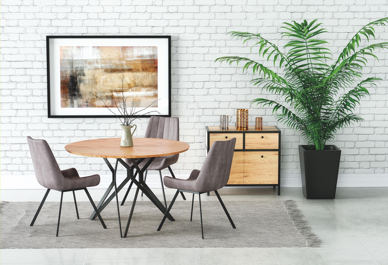 Set masa din MDF si metal Pixel 2 Stejar / Negru + 3 scaune tapitate cu piele ecologica K279 Gri, Ø120xH76 cm imagine