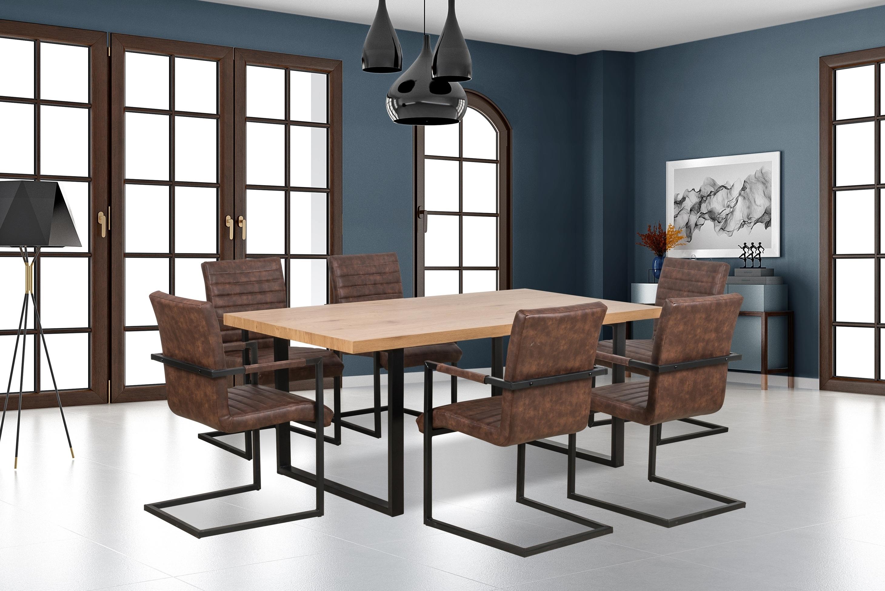 Set masa din MDF si metal Torres Stejar / Negru + 6 scaune K302 Maro, L160xl90xH76 cm poza