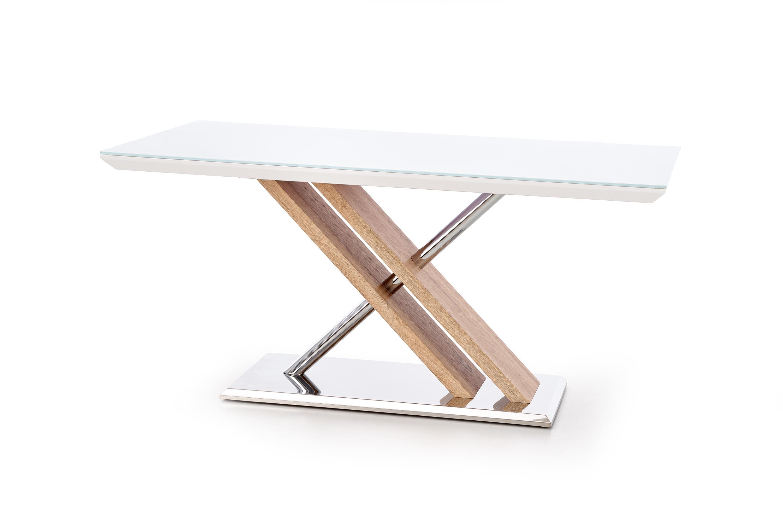 Masa din MDF si sticla Nexus White / Sonoma Oak, L160xl90xH76 cm