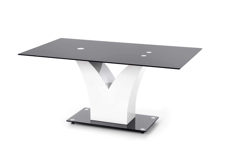 Masa din MDF si sticla Vesper Black / White, L160xl90xH76 cm