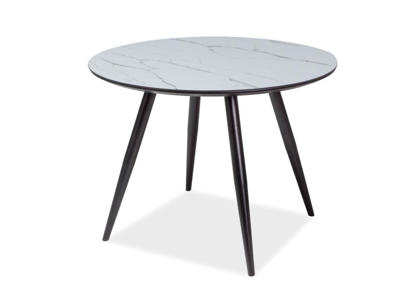 Masa din MDF, sticla si metal Merlin Alb / Negru, Ø100xH75 cm vivre.ro
