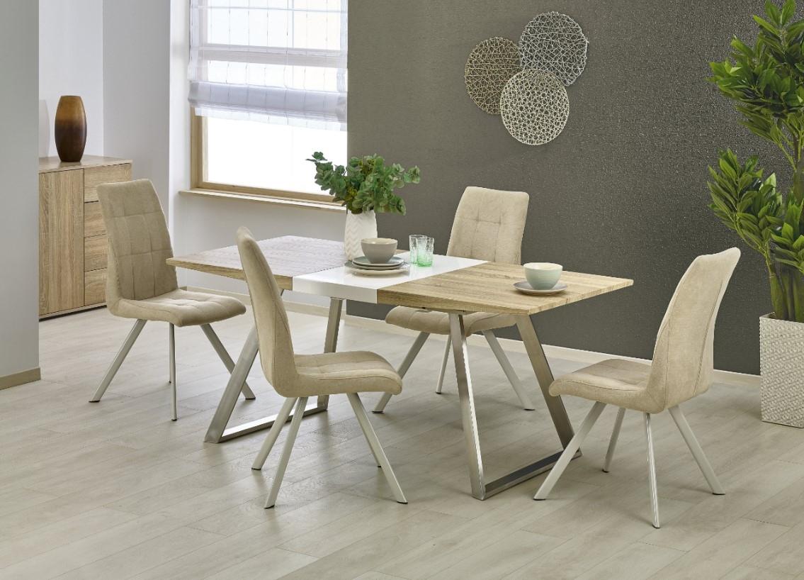 Set masa extensibila din MDF si metal Trevor Oak Sonoma / White + 4 scaune K241 Beige, L130-170xl80xH76 cm imagine