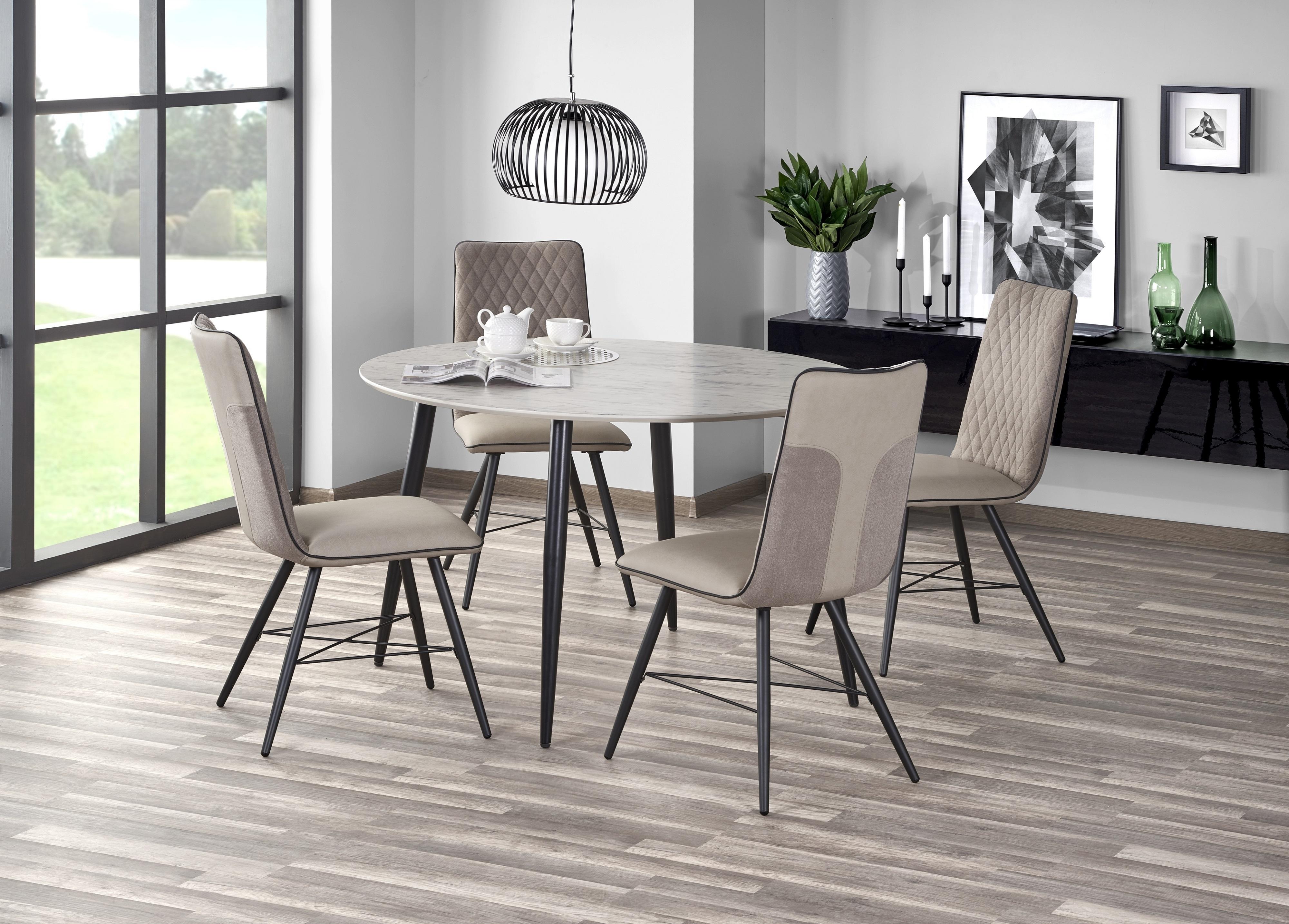 Set masa din MDF si metal Belato Cream / Black + 4 scaune tapitate cu stofa, cu picioare din metal K289 Beige, Ø120xH76 cm imagine