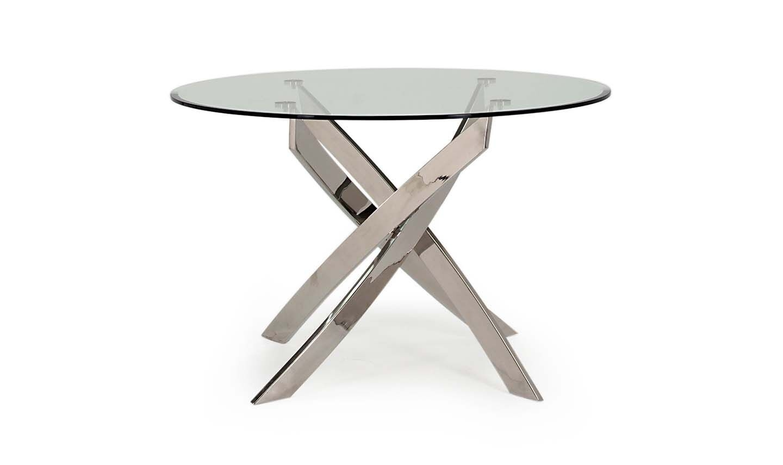 Masa din metal si sticla Kalmar Round Silver O110xH76 cm