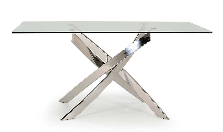 Masa din metal si sticla Kalmar Silver L160xl90xH76 cm