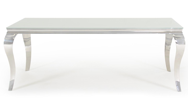 Masa din metal si sticla Louis White L200xl100xH75 cm
