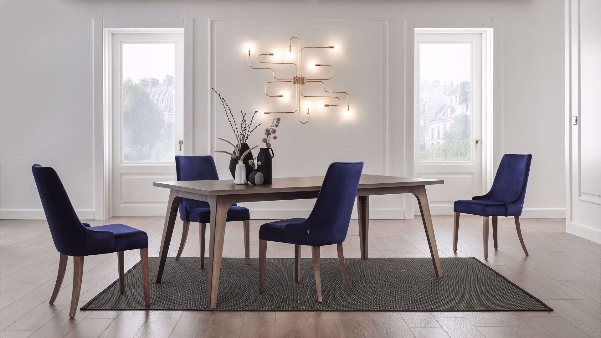 Set masa din pal + 4 scaune tapitate cu stofa, cu picioare din lemn Gold Nuc / Bleumarin, L200xl100xH75 cm imagine