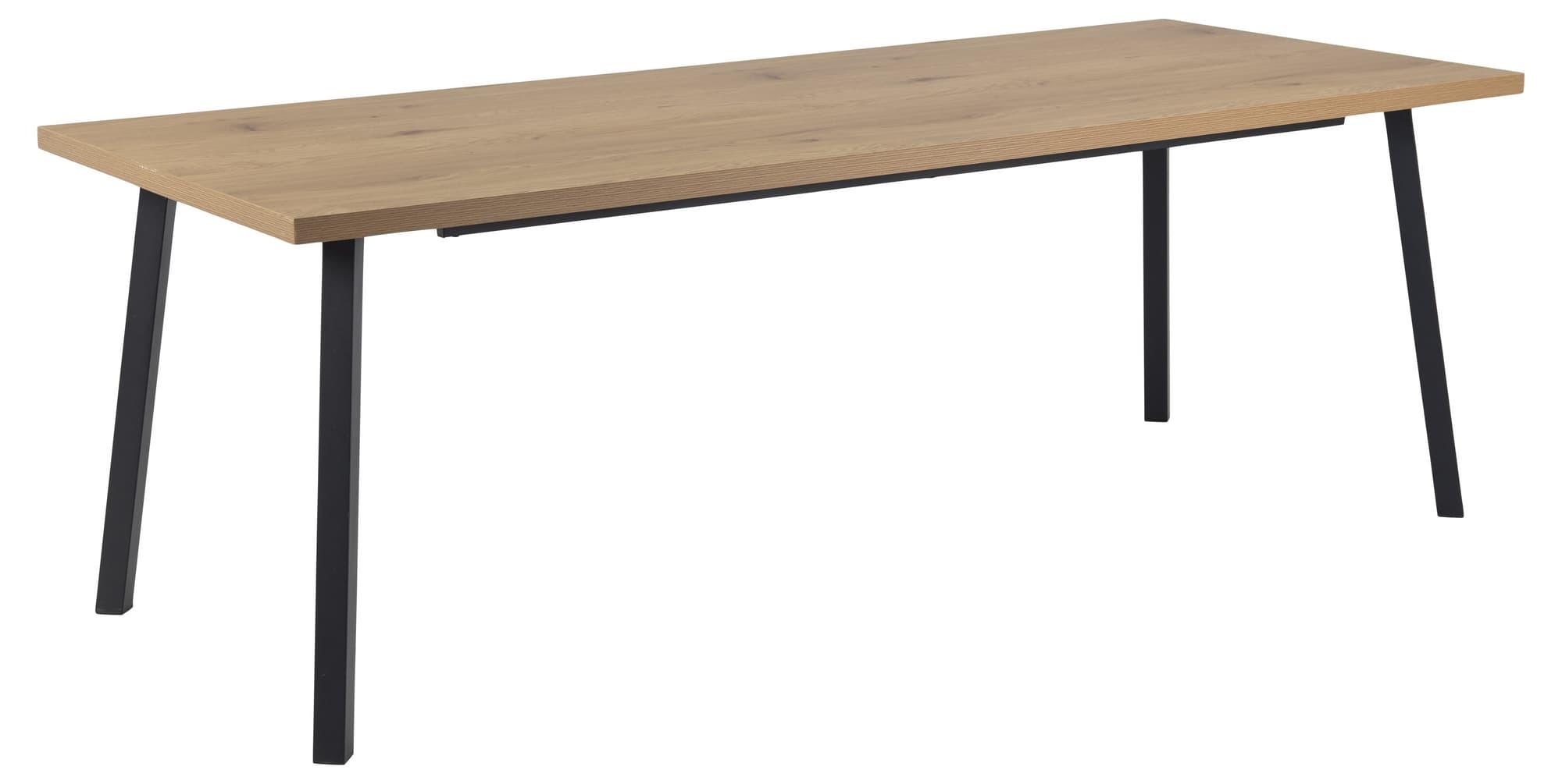 Masa din pal si metal Mallow Large Stejar / Negru, L220xl90xH75 cm poza