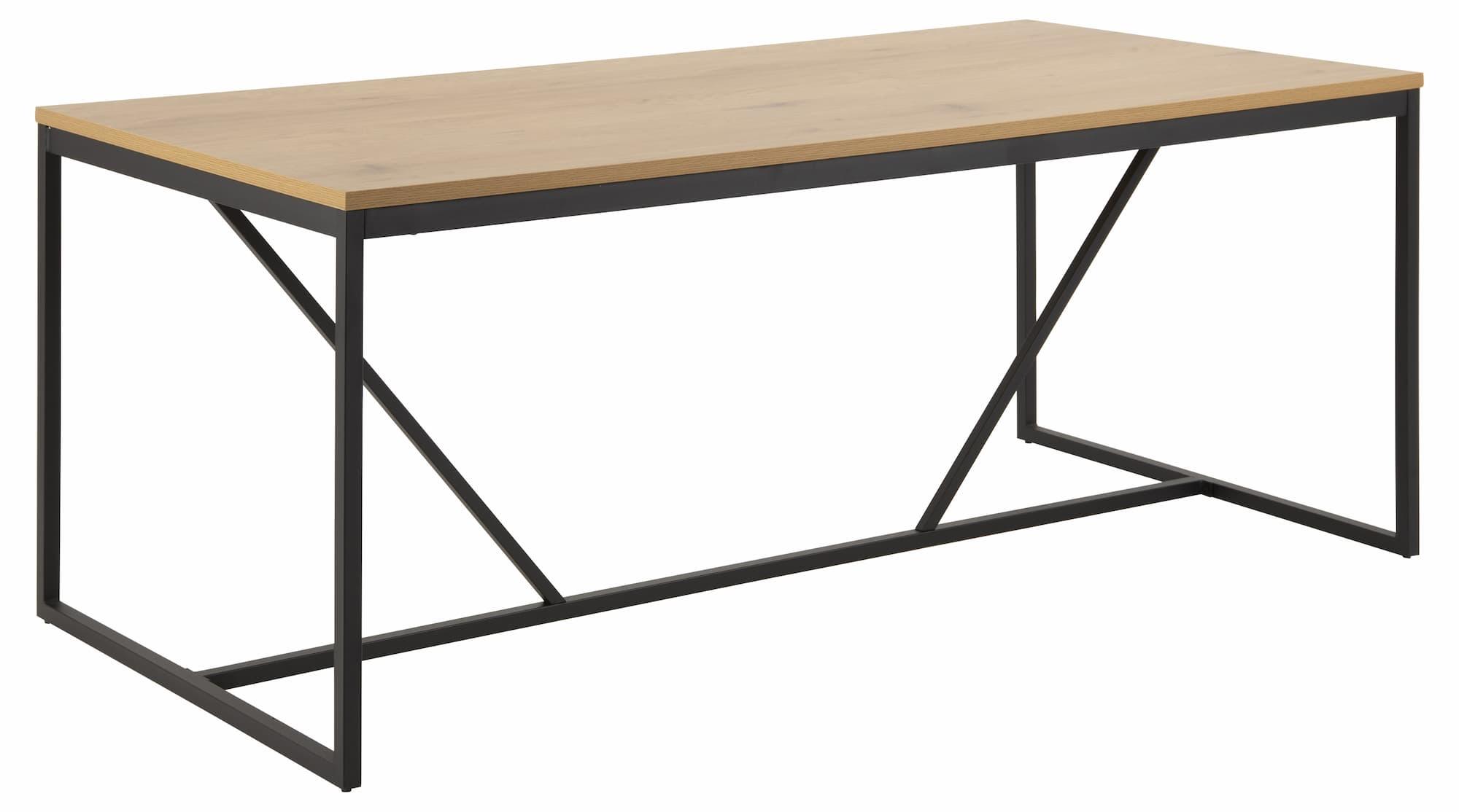 Masa din pal si metal Seaford Stejar / Negru, L180xl90xH74 cm