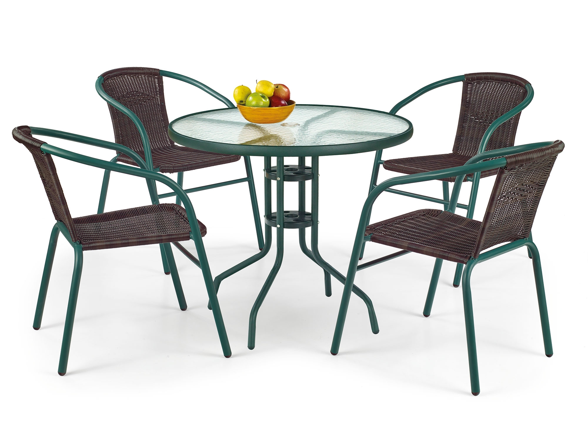 Set masa din sticla cu picioare metalice Grand Verde + 4 scaune din ratan sintetic Grand II Maro / Verde, Ø80xh72 cm