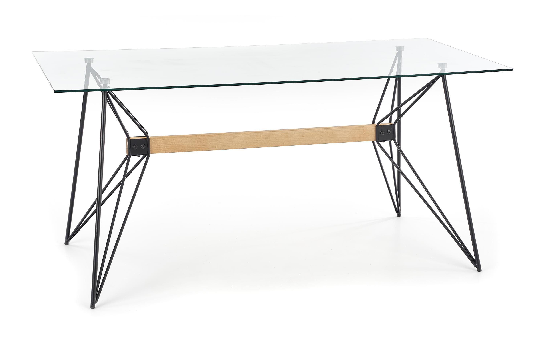 Masa din sticla si metal Allegro Transparent / Black, L160xl80xH75 cm vivre.ro