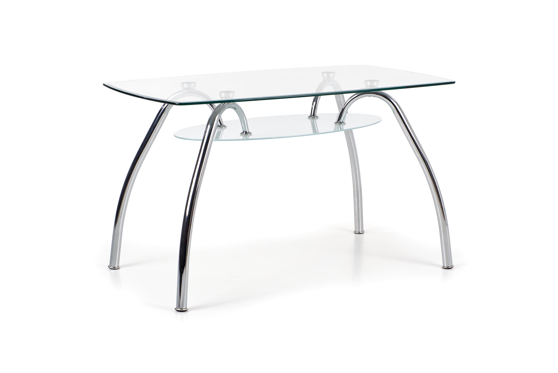 Masa din sticla si metal Corwin Bis Transparent / Chrome, L125xl75xH75 cm