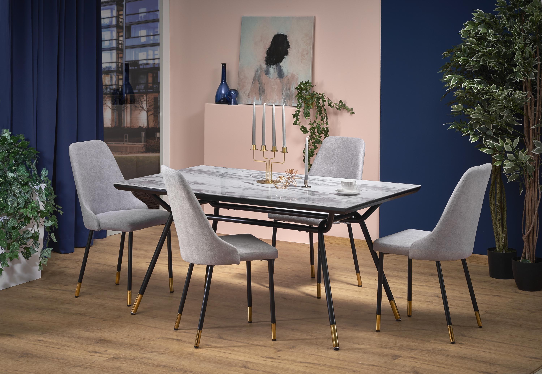Set masa din sticla si metal Glamour Marmura / Negru + 4 scaune tapitate cu stofa K318 Gri, L160xl90xH76 cm imagine
