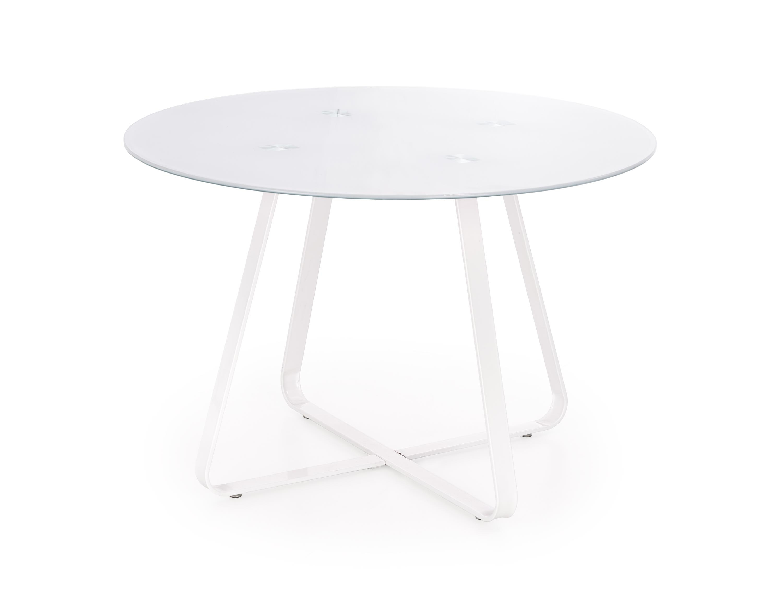 Masa din sticla si metal Looper White, Ø115xH76 cm imagine
