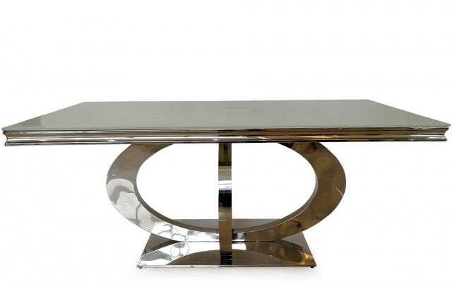 Masa Sticla Metal Alb - 764