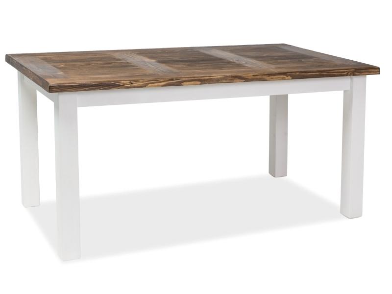Masa extensibila din lemn de pin Poprad II Alb / Maro inchis, L140-240xl80xH76 cm poza