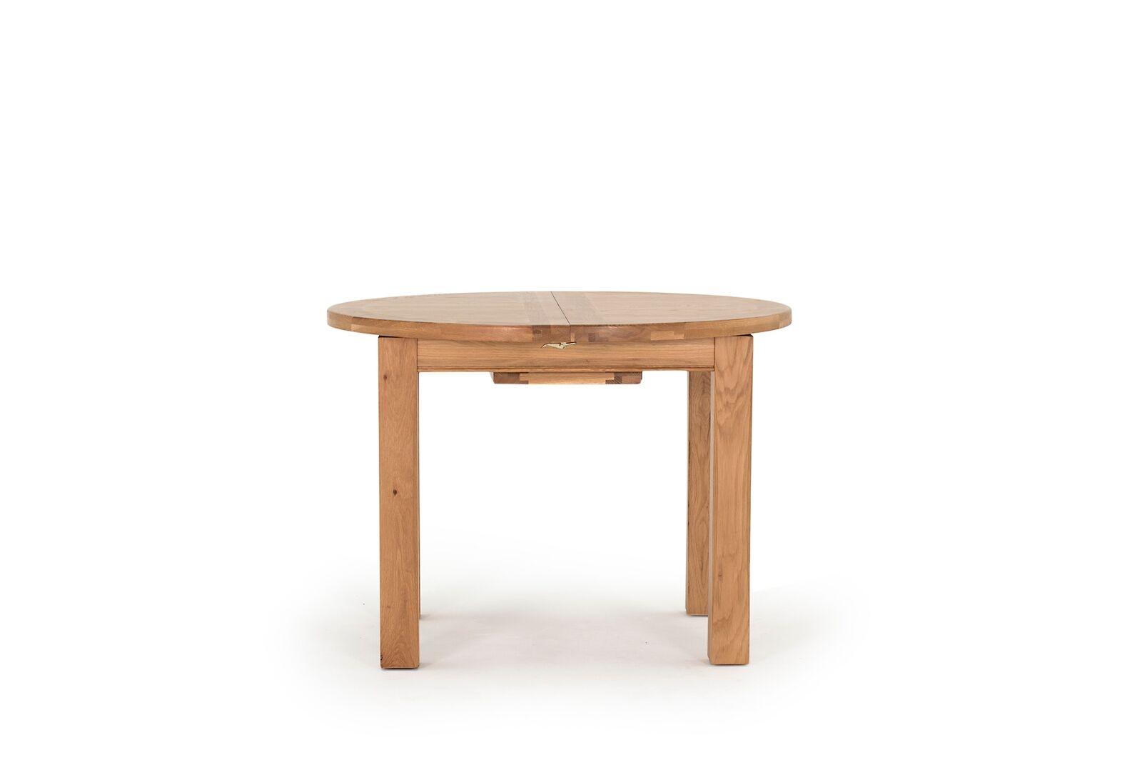 Masa extensibila din lemn de stejar si furnir Breeze Round Oak L107-140xl107xH78 cm