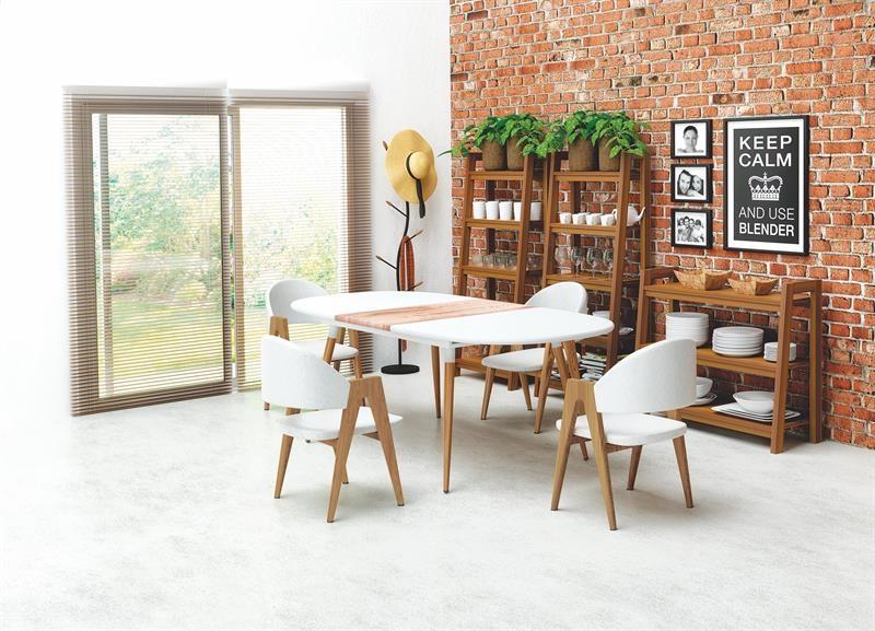 Set masa extensibila din MDF Caliber + 4 scaune tapitate cu piele ecologica K247 Alb, L160-200xl90xH76 cm poza