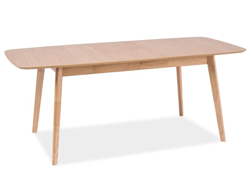 Masa extensibila din MDF, furnir si lemn Felicio Stejar, L150-190xl90xH75 cm imagine