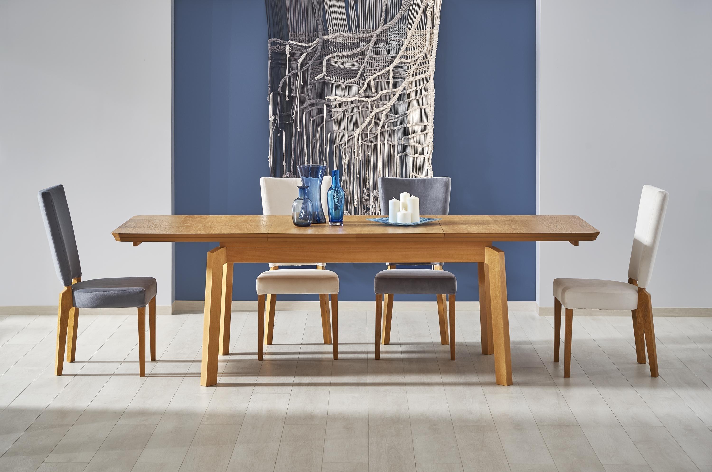 Set masa extensibila din MDF, furnir si lemn Rois Stejar +2 scaune Rois Stejar / Crem + 2 scaune Rois Stejar / Gri L160-250xl90xH78 cm