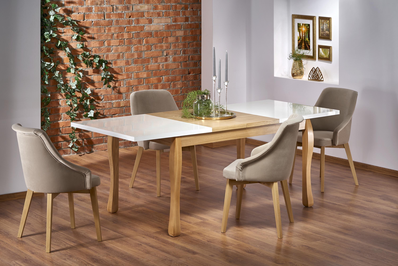 Set masa extensibila din MDF si lemn de fag Donovan Alb / Stejar + 4 scaune tapitate Toledo 2 Bej, L140-210xl90xH76 cm imagine