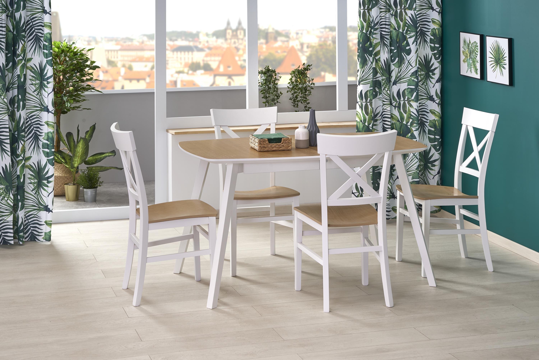 Set masa extensibila din MDF si lemn de fag Kajetan 2 Stejar / Alb + 4 scaune Tutti Alb / Stejar, L135-185xl82xH76 cm somproduct.ro