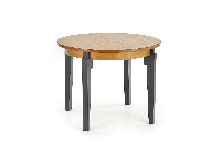 Masa extensibila din MDF si lemn de fag Sorbus Honey Oak / Graphite, L100-200xl100xH77 cm